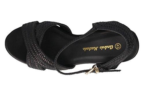 ANDRES MACHADO - Damen Keil Sandaletten - Schwarz Schuhe in Übergrößen