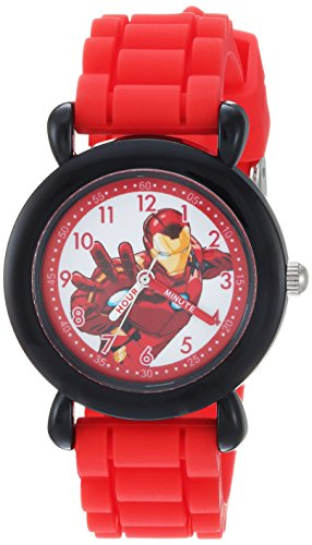 Marvel Boy's 'Avenger' Quartz Plastic and Silicone Casual Watch, Color:Red (Model: WMA000236)