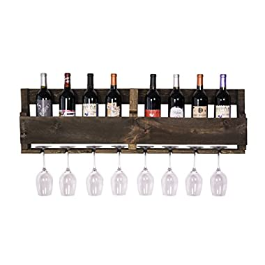 DAKODA LOVE - The Olivia Wine Rack, USA Handmade Reclaimed Wood, Wall Mounted, 8 Bottle 8 Long Stem Glass Holder (Dark Walnut)