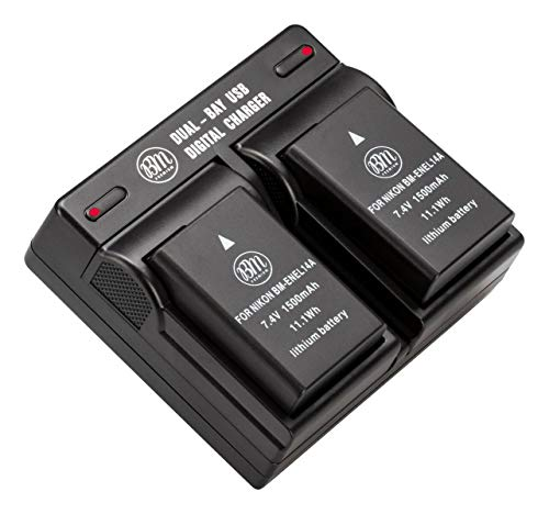 BM Premium 2 ENEL14, EN-EL14A Batteries and Dual Battery Charger for Nikon D3100, D3200, D3300, D3400, D3500, D5100, D5200, D5300, D5500, D5600, DF Coolpix P7000, P7100, P7700, P7800 Digital Camera