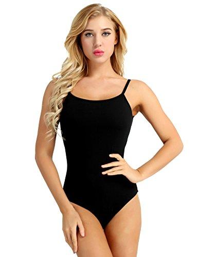 IEFIEL Women Cross Back Ballet Dance Leotard Gymnastic Camisole Bodysuit Costume Black Spaghetti Medium