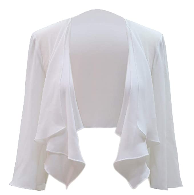Chic Queen Womens Sheer Chiffon Bolero Shrug Jacket Cardigan Long Sleeve