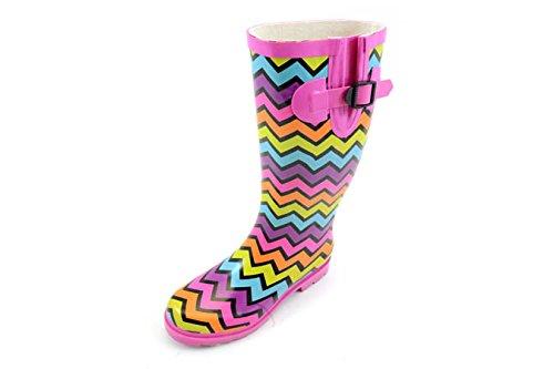 Women's Corkys, Sunshine rubber Rain Boots PINK MULTI 10 M by Corkys