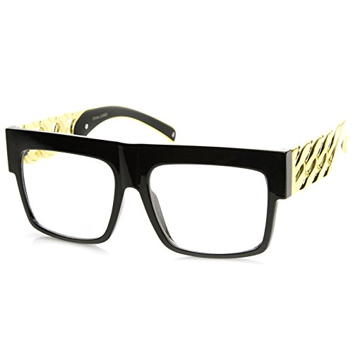 High Fashion Metal Chain Arm Clear Lens Flat Top Aviator Glasses (Shiny Black Gold) by zeroUV