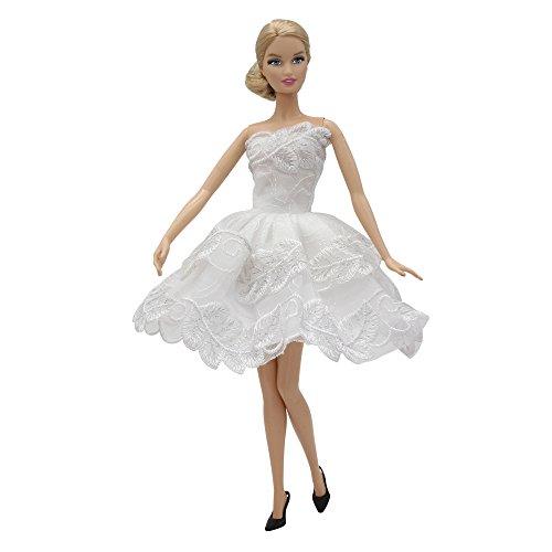 ZITA ELEMENT 5PCS Fashion Mini Summer Barbie Dress+5 Shoes For Barbie Doll Clothes - Handmade Short Party Dress Costume