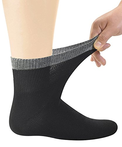 Men's Bamboo Diabetic Ankle Socks With Seamless Toe Black, 6 Pairs Size 10-13