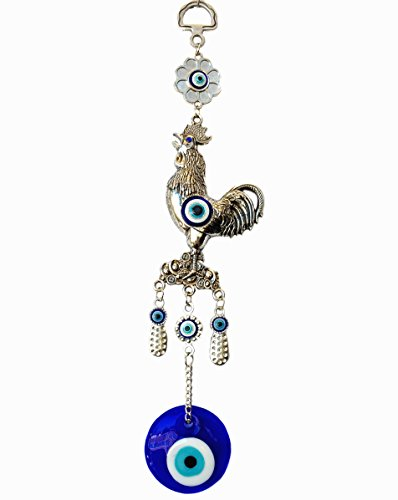 (Blue Evil Eye with Rooster Hanging for Protection (With a Betterdecor Pounch)-069)