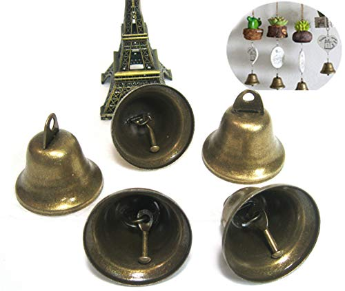 "Maydahui Small Jingle Bells Bronze Vintage (1.7""X 1.5"") for Dog Potty Training,Dog Door Bell,Housebreaking, Making wind chimes,christmas bell (Pack of 10)"