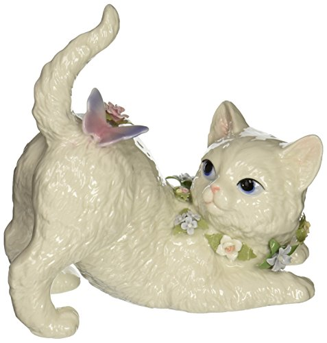 Cosmos SA49116 Fine Porcelain Cat Watching Butterfly Musical Figurine, (Fine Porcelain Statue)