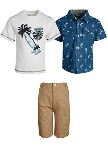 Quad Seven Little Boys 3-Piece Short Sleeve Shirt, T-Shirt and Short Set (Blue/Khaki Twill, 5/6)'