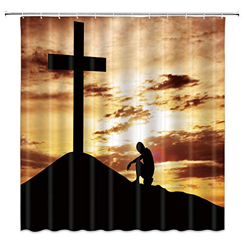 AMNYSF Christian Shower Curtain Christian Praying Before Cross Under Golden Sky Decor Yellow and Black Fabric Bathroom Curtains,70x70 Inches Waterproof Polyester with Hooks