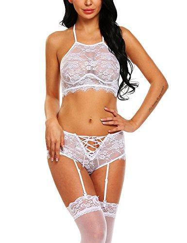 Avidlove Women's Gartered Lingerie Set Lace Lingerie Bralette and Panty Set(White,S) (Stockings Gartered)