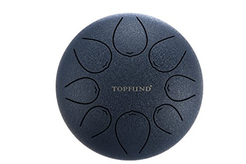 TOPFUND Steel Tongue Drum purplish blue colored 12 Inch- C Major with FREE padded travel bag and Rubber Mallets