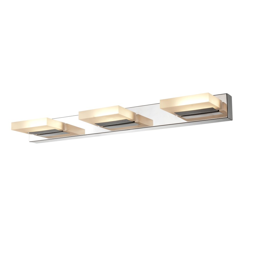 mirrea 12W Modern LED Vanity Light in 3 Lights, Stainless Steel and Acrylic, Warm White