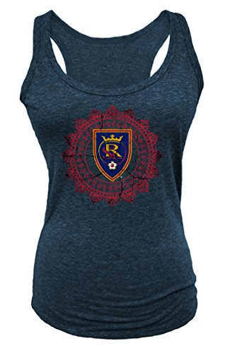 MLS Real Salt Lake Women's Tri Blend Racer Back Tank Top, Navy, - Women Tri Real