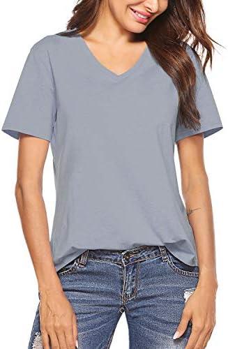 Inspop Women's Short Sleeve V-Neck Cotton Shirts Basic Tee T-Shirt Tunic Tops for Daily Wear Yoga Athletic Sleepwear