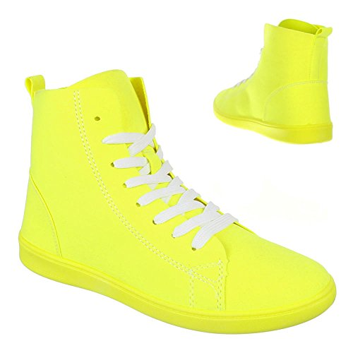 Ital-Design Damen Schuhe, 351-Y, Freizeitschuhe Sneakers Gelb