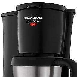 BLACK+DECKER DCM18S Brew \'n Go Personal Coffeemaker with Travel Mug, Black/Stainless Steel