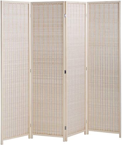 FDW Room Divider Folding Privacy Screen 4 Panel 72 Inches High 17.7 Inches Wide Room Divider
