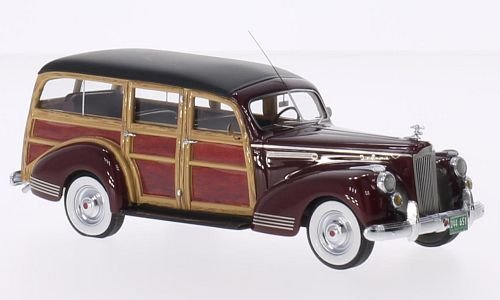 Packard 110 Deluxe Wagon, dark red/wood optics, 1941, Model Car, Ready-made, Neo (1941 Packard Wagon)