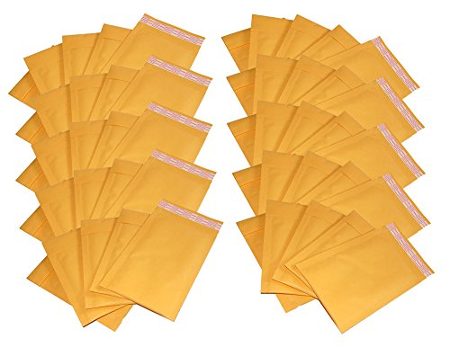 iMBAPrice #000 4 X 8 Kraft Bubble Mailers Padded Envelopes, Total 50 Envelope (4 Kraft Bubble Mailers)