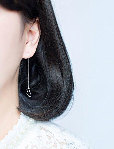 MANZHEN Cute Cat and Fish Bone Dangle Threader Earrings for Girls Gifts