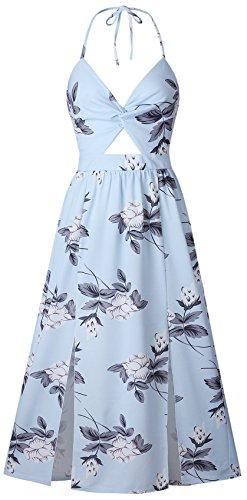 (Sleeveless Halterneck Deep V Neck Twisted Cut Out Front Pleated Floral Side Split Slit Long Maxi A-Line Dress Blue S)