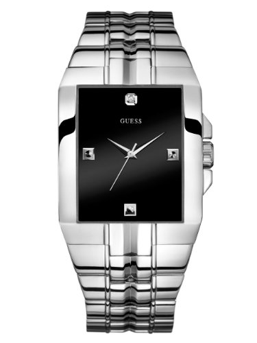 GUESS-Mens-U10014G1-Dressy-Silver-Tone-Stainless-Steel-Watch-with-Analog-Dial-and-Deployment-Buckle