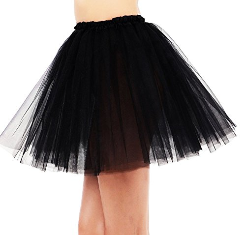 Simplicity 3 Layered Ballerina Tutu W/ Stretch Waist, Tulle Fibers, Black, One -