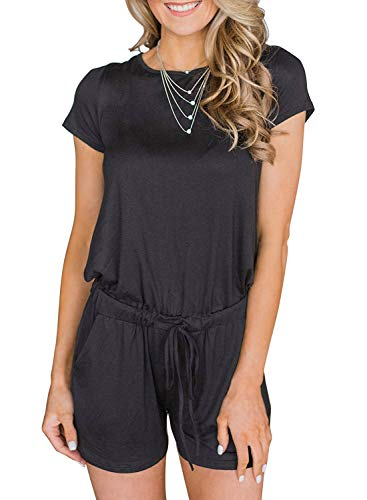 Artfish Women's Summer Striped Jumpsuit Casual Loose Short Sleeve Jumpsuit Rompers (M, 005#Black)