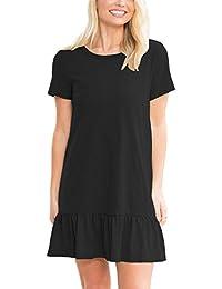 Women's Summer Short Sleeve Strappy Back Ruffle Loose Casual Shirt Dress