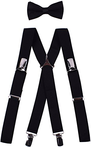 (BODY STRENTH Big Boys' Bowties and Suspenders Set Striped and Elastic X Shape 30 Inches, Black)
