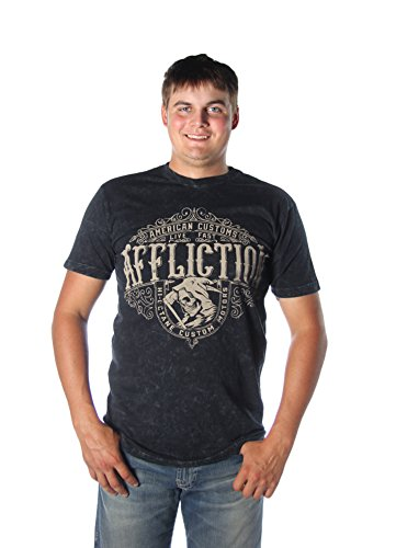 Affliction L/s Tees - High Octane Reaper S/S Tee in Black Lava Wash by Affliction (L)