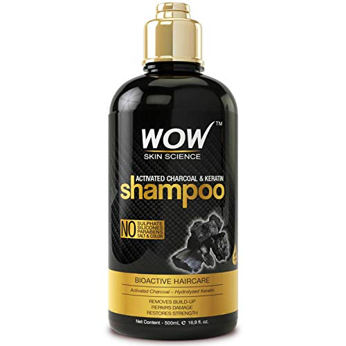 WOW Activated Charcoal & Keratin Shampoo - Full Scalp Detox Cleanse - Restore Dry, Damaged Strands For Soft, Smooth, Shiny Hair- Sulfate & Paraben Free - All Hair Types, Adults & Children - 500 mL (Best Affordable Hair Products)