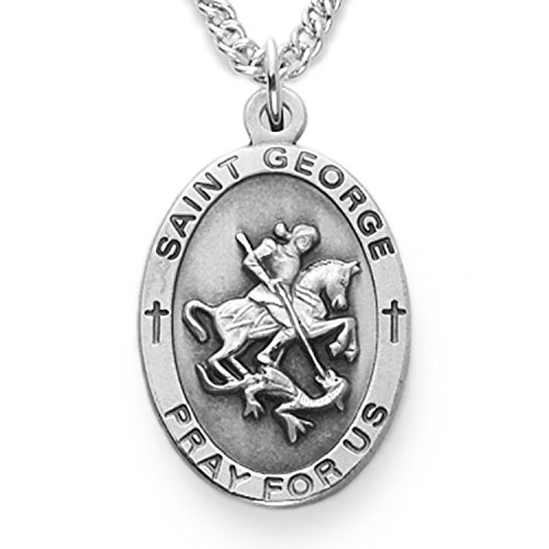 TrueFaithJewelry Sterling Silver Oval Saint George Patron of Soldiers Medal, 7/8 Inch ()