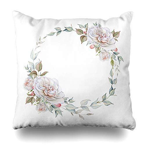 Ahawoso Throw Pillow Covers Leaf Blue Blooming Watercolor Rose Wreath White Nature Festive Anniversary Vintage Gray Blossom Home Decor Pillowcase Square Size 16