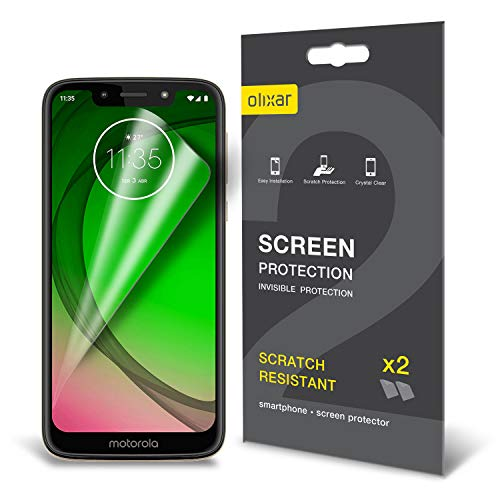 (Olixar Screen Protector Compatible with Motorola Moto G7 Play - Film Protection - Case Friendly Design - 2 Pack - Easy Application Card and Cleaning Cloth Included )
