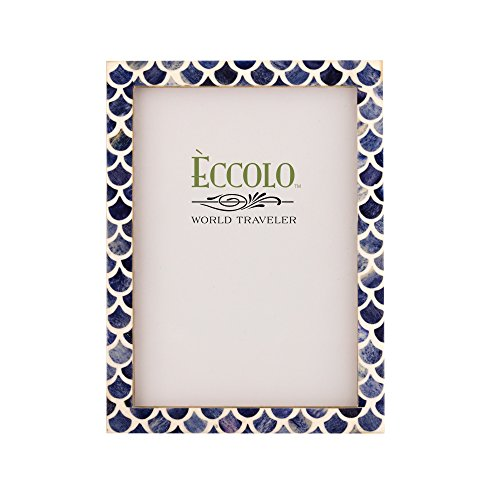 "Eccolo World Traveler HF337 4 x 6"" Fish Scales Blue Photo Fr"
