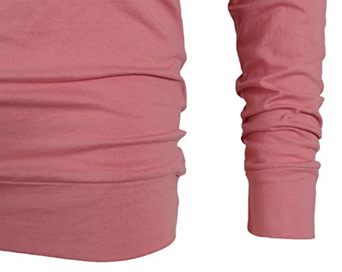 MAJECLO Mens Lightweight Cotton Pullover Long Sleeve Hoodie Sweatshirt(Large,Pink) by MAJECLO (Image #5)