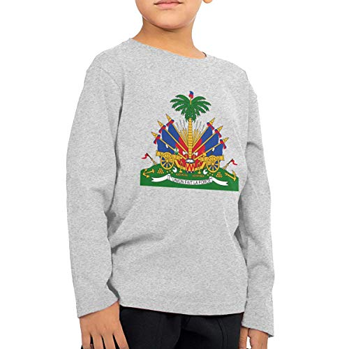 (HIGASQ Unisex Baby Coat of Arms of Haiti Toddler's Long Sleeve Round Neck Casual Pullover T Shirt for Kid (Boys Girls) Gray)