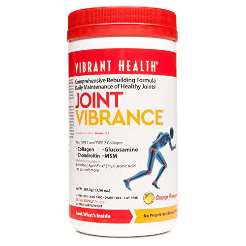 Vibrant Health - Joint Vibrance Powder, Support to Maintain and Repair Joint Health with Collagen, Glucosamine, and Chondroitin, Gluten Free, Dairy Free, Non-GMO, Orange Pineapple, 21 Servings (FFP)