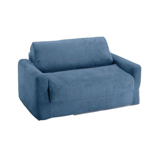Amazon Com Fun Furnishings Sofa Sleeper Blue Micro Suede Kitchen