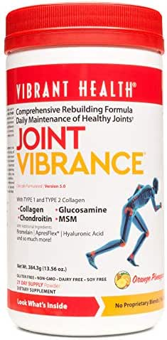 Vibrant Health, Joint Vibrance, Comprehensive Rebuilding Formula with Collagen, Chondroitin, Glucosamine and MSM, Non-GMO, Gluten Free, 21 Servings (FFP)