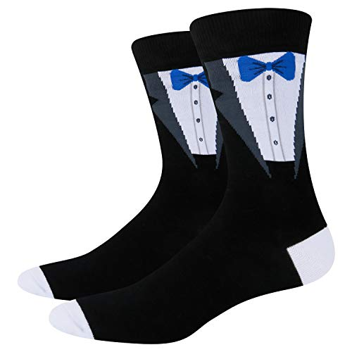 Happypop Men's Wedding Day 'Groom' Crew Cotton Socks, Novelty Funny Best Men Groomsmen Bride Socks