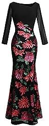 Women's Long Sleeve Rose Pattern Sequin Dress