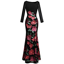 Angel-fashions Women's Peplum Evening Dresses Flowers Sequin
