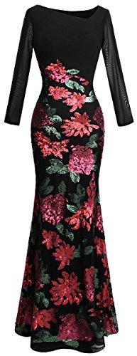 Angel-fashions Women's Long Sleeve Rose Pattern Sequin Black Formal Dress Medium