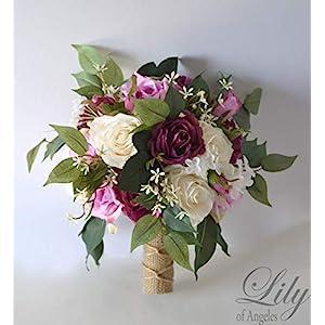 Wedding Bouquet, Bridal Bouquet, Bridesmaid Bouquet, Silk Flower Bouquet, Wedding Flower, Mauve, lilac, dusty pink, eggplant, lavender, wisteria, purple, plum, ivory, cream, Champagne, Lily of Angeles 7