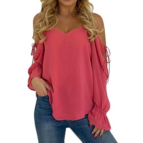 Cruiize Womens Cold Shoulder Solid Blouses Chiffon Ruffles T-Shirt Tops