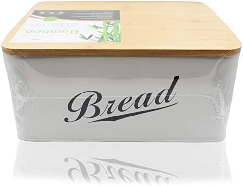4198 cud9IL. AC RoyalHouse Modern Metal Bread Box with Bamboo Lid, Bread Storage, Bread Container for Kitchen Counter, Kitchen Decor Organizer, Vintage Kitchen    Perfect Size Bread Box Saves your kitchen counter space in your kitchen with the Claimed Corner Metal Bread Box. Free up limited cupboard space and keep your bread fresh, longer and looking great with this perfectly sized breadbox.